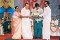 Parvathamma, Rajkumar and Rajanikanth in Appu 100 Days Function